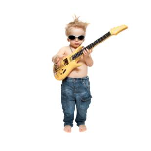 the boy in sunglasses plays an electric guitar